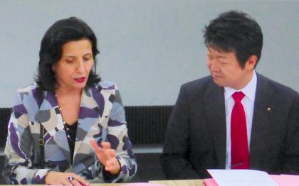Aude Debreil, Directrice Générale de l'Epa Sénart et Kentaro OHYAMA, Président IRIS Group